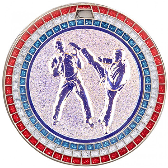 SILVER 70MM KICKBOXING MEDAL - GEMSTONE